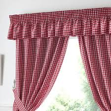 gingham check kitchen window curtains red white 3 99