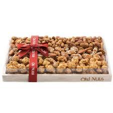 oblong honey roasted nuts wooden gift basket