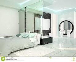 Schlafzimmer Mit Badezimmer In Einer Modernen High Techen Art Stock