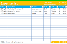 Itemized List Of Expenses Template Personal Expenses List Magdalene Project Org