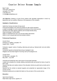 Sample Courier Delivery Driver Resume Sample And Job Title Expozzer