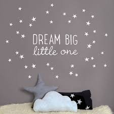 silver star wall decals dream big little one wall sticker nursery sticker