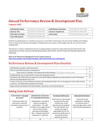 Annual Performance Review & Development Plan Support Staff