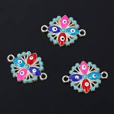 <b>TJP 10pcs</b> Gold Colorful Enamel Eyes Flowers Connectors Charms ...