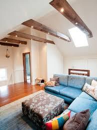 exposed beam lighting in living room