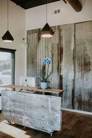 woodank reception desk best desks ideas on counter corrugated metal walls siding wood plank reception