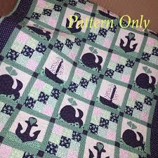 Sailboat Baby Quilt Pattern, Whales baby boy Quilt Pattern ... & Sailboat Baby Quilt Pattern, Whales baby boy Quilt Pattern, Nautical Quilt  Pattern, Baby Adamdwight.com