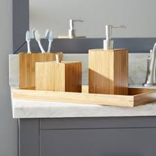 crystal bathroom accessories. defoe bamboo 5-piece bathroom accessory set crystal accessories