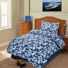 kids camouflage blue duvet cover set single bedding