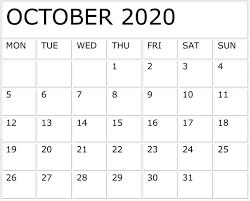 October 2020 Calendar Word Excel Pdf Template Latest