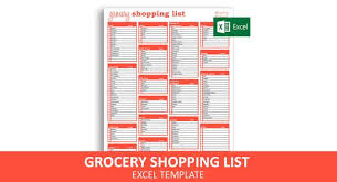 Grocery Checklist Grocery Shopping List Excel Template Editable Printable Grocery Checklist Instant Digital Download