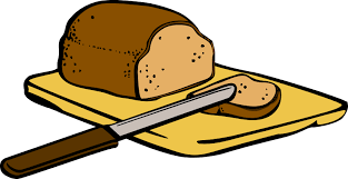 bread clipart.  Clipart Bread With Knife On Cutting Board Intended Clipart