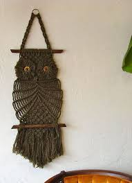 vintage brown macrame owl wall hanging