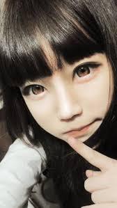 ulzzang large doll eyes long dark hair ulzzang makeup ulzzang eyes and hair