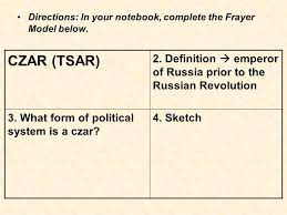 Frayer Model Directions Russian History Directions In Your Notebook Complete The