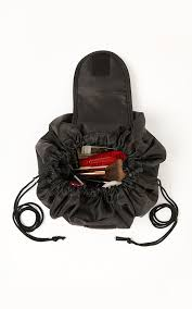 draw string travel makeup bag in black
