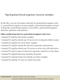 Geotechnical Engineer Sample Resume Resume Cv Cover Letter