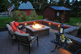 patio ideas with square fire pit. Awesome Square Fireplace Design For Outdoor Patio With Recessed Lighting Ideas And Metal Iron Furniture Decoration Fire Pit