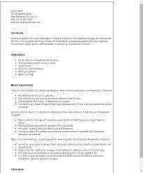 Therapist Resume Template Professional Entry Level Respiratory Therapist Templates To