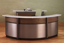 crescent reception desk and credenza in walnut and white frosted glass