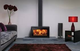stovax studio 1 freestanding wood burning stove with black glass top plate and decorative square section flue cover