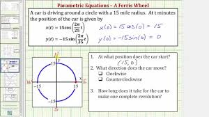 ex parametric equations modeling a path around a circle
