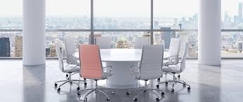 panoramic conference room in modern office new york city view white chairs and a white round table 3d rendering jennifer zorn2016 12 02t17 29 28 00 00
