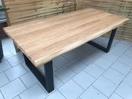 Esstisch Wildeiche Massiv Baumkantentisch 200x100cm Metallfüße U
