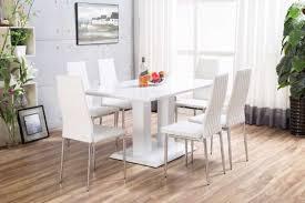 White Imperia High Gloss Dining Table Set Furniturebox