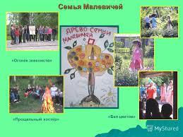 Презентация на тему Подпроект Пленэр Отчёт по летней  5 Семья Малевичей Огонёк знакомств Прощальный костёр Бал цветов