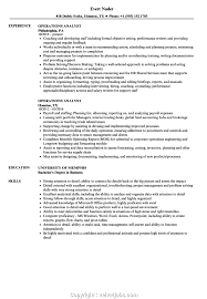 Operations Analyst Resume Sample New Operational Experience Resume Operations Analyst Resume Samples 2