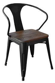 black metal dining chairs. Wonderful Metal Loft Black Metal Dining Chair With Wood Seat Set  Of 4 Throughout Chairs