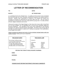 eagle scout letter of recommendation form letter of recommendation in word and pdf formats