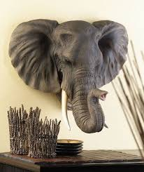 elephant head wall plaque african