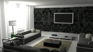 Living Room Designed Black Wall With White Stencil Gray Living Room Home Design