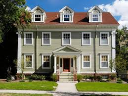 Colonial Architecture Red Roof Exterior Paint Colors And Grey - Farmhouse exterior paint colors