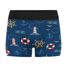 Interestprint Boxer Briefs Mens Underwear Pattern With Sea