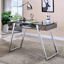 Glass top writing desk Tempered Glass Cymax Furniture Of America Emmet Glass Top Writing Desk In Chrome Idfdk6053