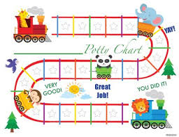 Printable Animal Train English Potty Training Chart Download