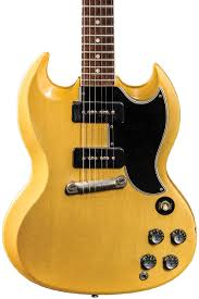 tv yellow sg. when the les paul special was reconfigured into sg in 1961, its flat slab design altered to include graduated edging, making access tv yellow sg u