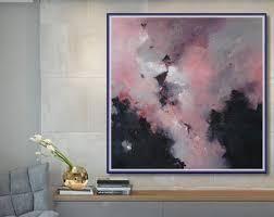 office canvas art. Abstract Painting, Large Original Modern Canvas Art, Wall Art Home, Office Decor Pink Black Etc A