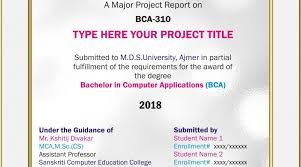 project report front page project cover page sample project report bca pgdca msc mca 2018