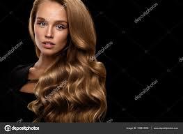 Schöne Lange Haare Woman Modell Mit Blonden Lockigen Haaren