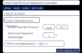 Calculator Credit Card Payment Credit Card Minimum Repayment Calculator