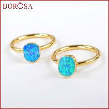 <b>BOROSA</b> Fashion <b>5</b>/<b>10pcs</b> Gold Color Blue Japanese Opal <b>Rings</b> ...