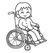 車椅子の女の子白黒車椅子5介護医療無料イラスト素材