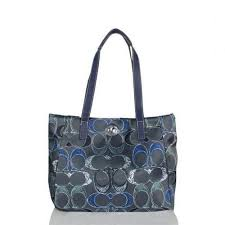 Coach Poppy Turnlock Medium Navy Totes BWU Outlet Online