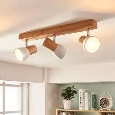 Holz Deckenlampe Thorin Dreiflammig