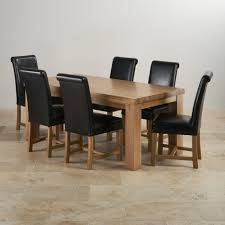 Oak Chairs For Kitchen Table Chunky Solid Oak 3ft 7 Dining Table With 6 Black Chairs