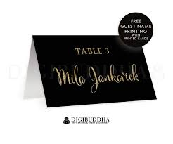 flat place cards black gold tented place cards wedding escort card folded or flat